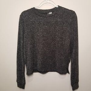 H&M Long Sleeve Sparkly T-shirt Black/Silver XS